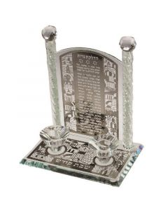 CANDLE HOLDER CRYSTAL JERUSALEM - GLASS BLESSING CHIPS IN PILLARS