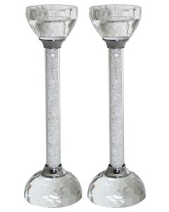 "PAIR CRYSTAL CANDLESTICKS ""SLV CHIPS"" 19 CM."