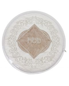Matzah Cover Brocade With Leather 3 Pockets 45cm with Hard Plastic