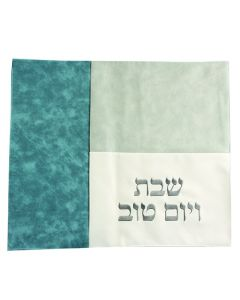 CHALLAH COVER LEATHERETTE -  SLTAE BLUE STRIP/ GREY/WHITE