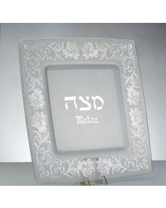 GLASS MATZAH TRAY WITH SILVER FLORAL DESIGN.