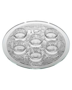 MIRROR SEDER PLATE WITH LASER CUT JERUSALEM - SILVER