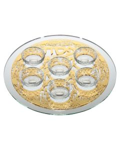 MIRROR SEDER PLATE WITH LASER CUT JERUSALEM - GOLD