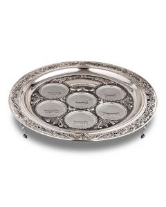 SEDER PLATE - SILVER PLATE WITH GLASS BOWLS ON 2.5 INCH LEGS