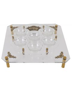 SEDER PLATE ACRYLIC WITH GOLD ORNAMENTS