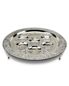 Metal Seder Plate, Filigree, on legs