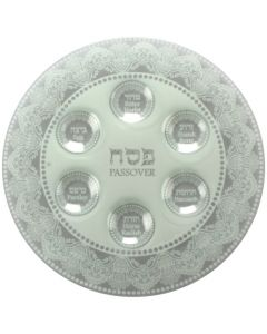 Glass Seder Plate, white, integrated cups