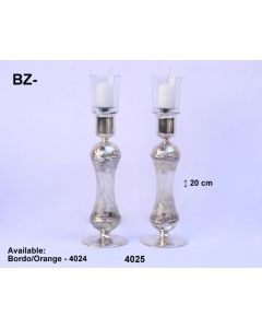 GLASS AND SILVER DESIGNER CANDLESTICKS MADE IN ISRAEL - WHITE