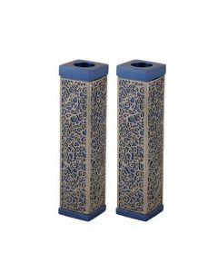 TALL SQUARE CANDLESTICKS BLUE