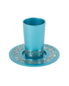 Kiddush Cup and Plate, Aluminum Turquoise with Silver Pomegranate Design