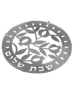 Challah Board, Laser Cut Metal and Glass, Pomegranate Motif