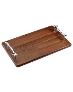 WOODEN CHALLAH BOARD WITH SILVER HANDLES