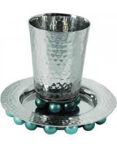 KIDDUSH CUP HAMMERED SPHERE BASE - BLUES