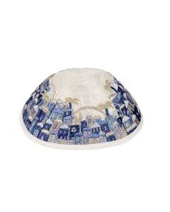 KIPPAH EMBROIDERED JERUSALEM BLUE