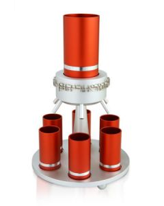 Kiddush Fountain,  Red Aluminum 6 Cups - MADE IN ISRAEL