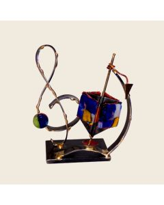 Dreidel and Music Note Sculpture in Metal and Glass