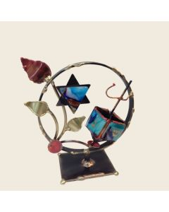 Dreidel and Star of David Sculpture in Metal and Glass