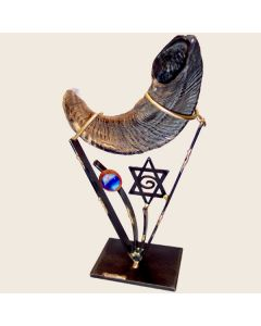 SHOFAR STAND METAL AND FUSED GLASS STAR OF DAVID