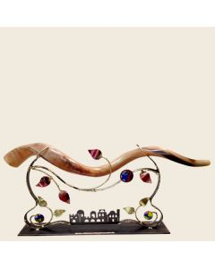 YEMENITE SHOFAR STAND METAL AND FUSED JERUSALEM