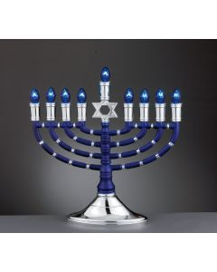 ELECTRIC MENORAH - BLUE AND SILVER TONES