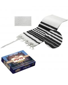 Tallit / Tallis Prayer Shawl Wool, Chabad,  Non-Slip Weave - Black