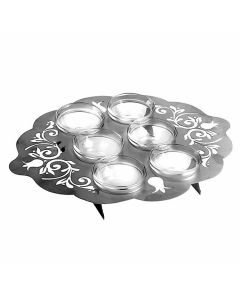 Stainless Steel Cut Seder Plate with jewels