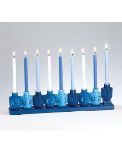MENORAH CERAMIC - BLUE DREIDEL THEME