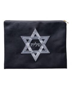 Tallit Bag, Suede Look, Star of David, Grey