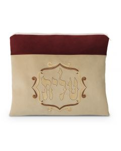 Tallit Bag, Suede Look, Maroon and Beige