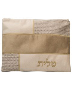 Tallit Bag, Suede Look, Tan Patches