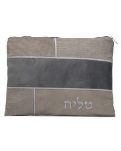 Tallit Bag, Suede Look, Grey Patches