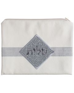 Tallit Bag, Suede Look, White Diamond