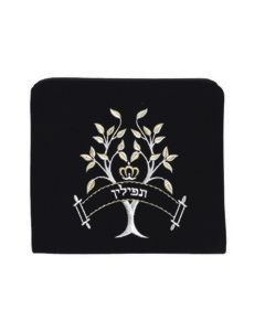 Tefillin Bag, Velvet, Tree of Life, Black
