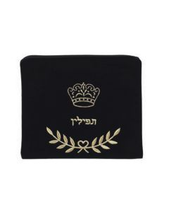 Tefillin Bag, Velvet, Crown, Black