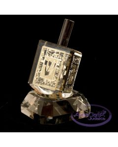 Crystal Dreidel With Gold Color Metal Faces