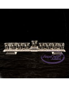 Crystal Menorah with Laser-Cut Pomegranate Motif