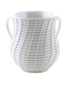 Wash Cup, Polyresin, White Wicker