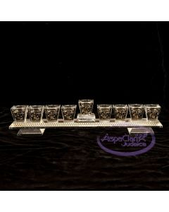 Crystal Menorah with Gold Jersusalem Motif