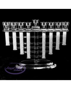 Crystal Menorah with Chip-Filled Columns