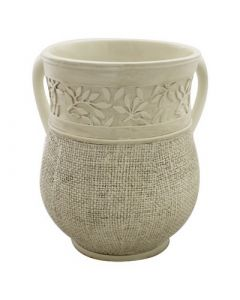Wash Cup, Polyresin, Cream Color, Leaves and Burlap