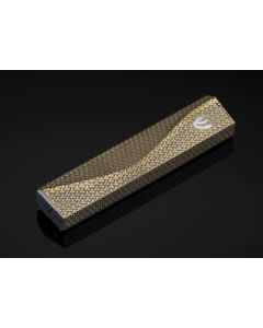WAVE METALIC GOLD LASER CUT MEZUZAH CASE 12CM